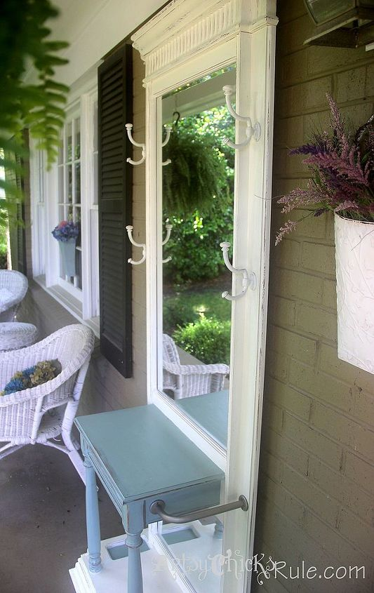 Duck Egg Blue Chalk Paint/Old White..in it's new spot on the front porch.