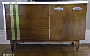 mid century console to tv stand, home decor, kitchen cabinets, painted furniture, repurposing upcycling, spit shined and painted to 50 s perfection