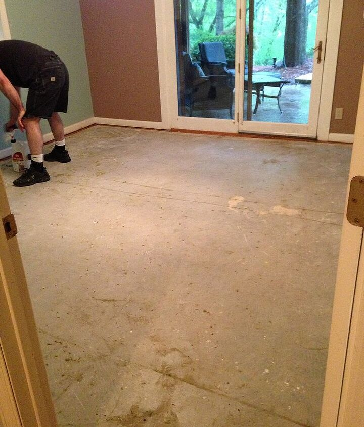 goodbye carpet hello stenciled floor with annie sloan chalk paint, bedroom ideas, chalk paint, flooring, painting, The concrete subfloor after the carpet was removed