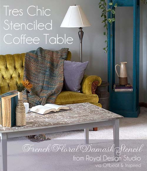 Small French Floral Damask Stencil http://www.royaldesignstudio.com/blogs/stencil-ideas/12281217-stencil-yourself-a-tres-chic-coffee-table