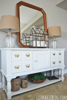 diy card catalog entryway table, diy, foyer, painted furniture, The piece after is the perfect addition to our entryway