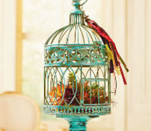 turquoise bird cage, crafts, painting, repurposing upcycling