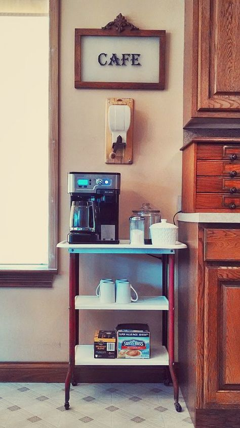 yard sale cart turned into coffee station, kitchen design, painted furniture, repurposing upcycling
