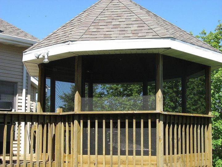 screening in a gazebo, decks, outdoor living