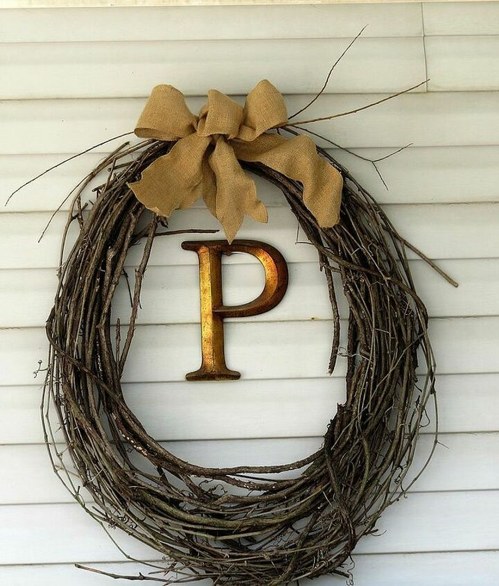 Add a bit of wow value to your ordinary grapevine wreaths with a burlap bow.