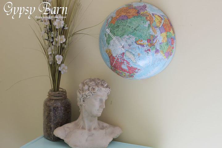 the globe clock, home decor, painted furniture, repurposing upcycling