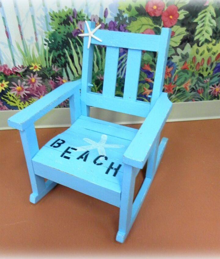 A beachy children's rocking chair.