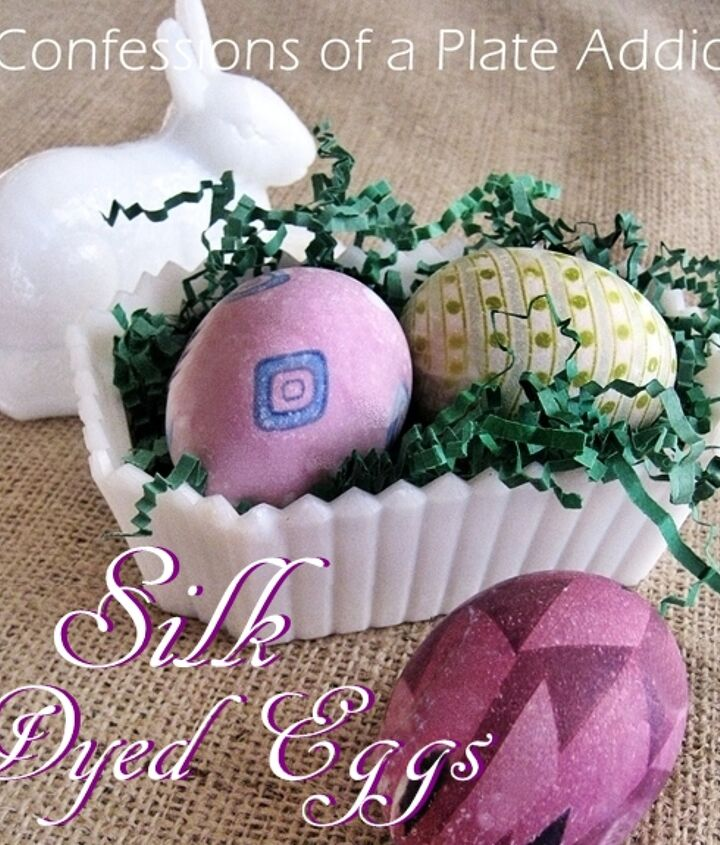 Old silk ties lend their colors and patterns to eggs, resulting in fun and different Easter eggs!