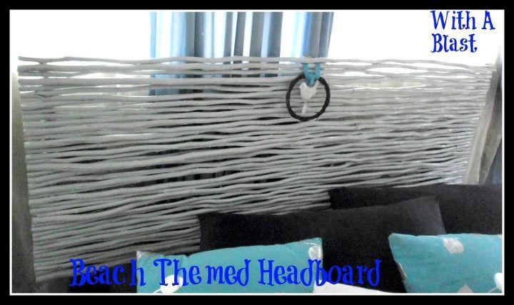 beach themed headboard made from re purposed garden reeds, bedroom ideas, crafts, home decor, wreaths, My new Beach themed Headboard