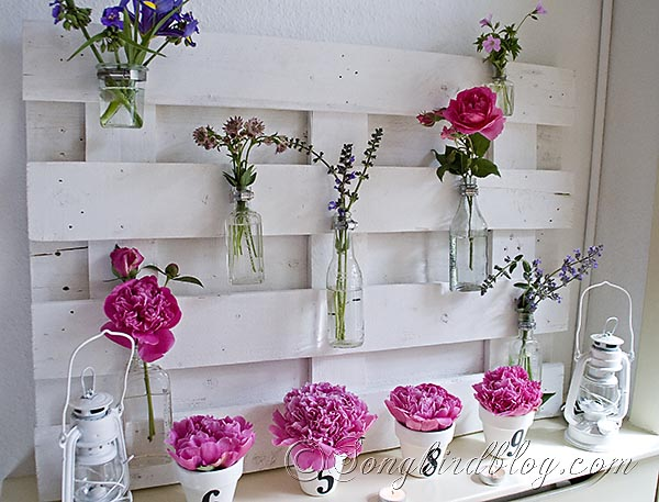 lots of variations possible with this pallet wood mantel decor, diy, home decor, how to, pallet, repurposing upcycling, The original mantel Decked out in various pink flowers from my garden