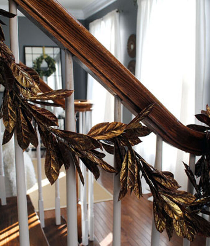 Gold Leaves Garland on the Stairs