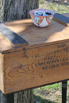 upcycled farmhouse chic crate table, diy, painted furniture, repurposing upcycling, The crate mentions Chicago and also Paul Newman Hobart Ind Paul Newman owned a local hardware store in Hobart in the early 1900s