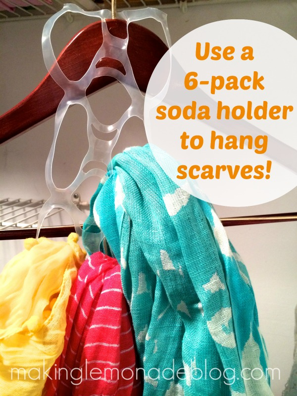 Tip #2:  THRIFTY SCARF ORGANIZING TRICK.  I came up with this idea because I didn't want to spend $15 on a scarf organizer. I used a 6-pack soda holder and hung it on a hanger.  Then, I added my scarves!  Easy, neat, and free.