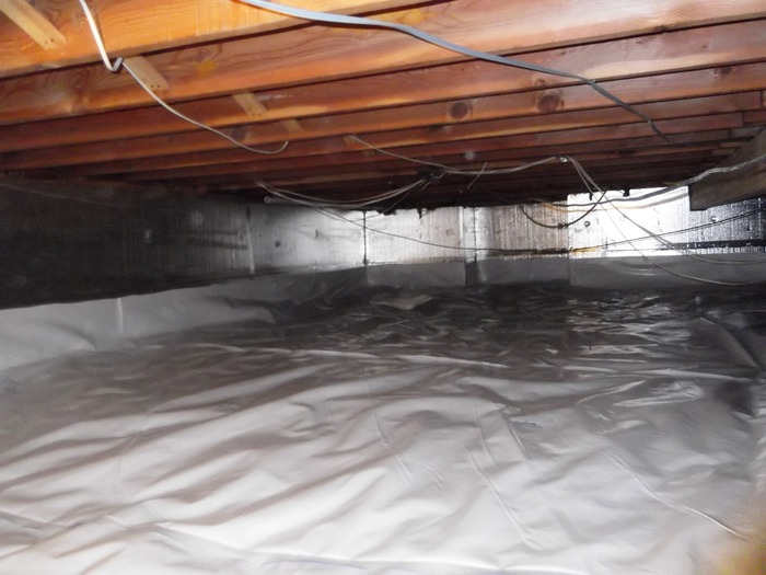 We installed SilverGlo Insulation on the walls, and sealed the entire space with the CleanSpace vapor barrier, The crawl space is now sealed and conditioned, free of mold and pests, The home is more comfortable and energy efficienct,