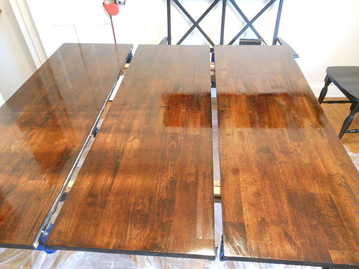 Before And After Painted Dining Table Top To Refinished Natural