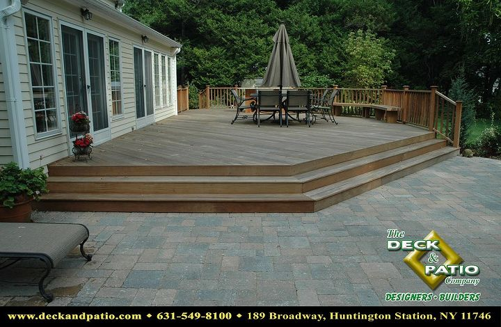 Ipe deck with wide wrap around step