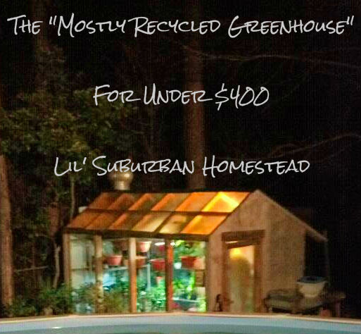 """A view of our """"Mostly Recycled"""" Greenhouse at night nestled against the woods in the back drop!"""