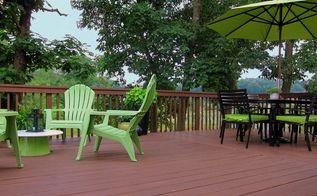 an inexpensive bright green outdoor update, decks, outdoor furniture, outdoor living, painted furniture, bright green deck accents