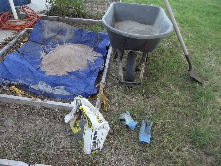 Items needed; tarp, sand, gloves, cement, plastic bag, shovel and something to mix the cement in, I prefer a wheelbarrow.