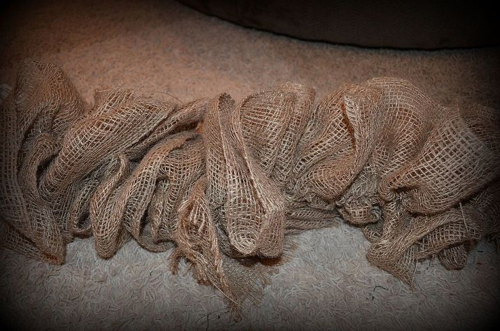 Burlap Pulled and gathered