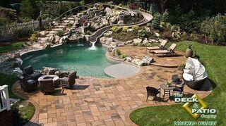 , Vinyl pool with 57 water slide tan pebble liner