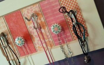 diy jewelry holder, crafts, decoupage, And old door scrapbook paper and some knobs and hooks makes for an easy DIY project