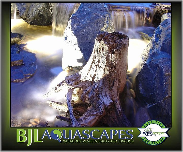 Using stumps and logs in our pondless waterfall designs helps naturalize the final product .