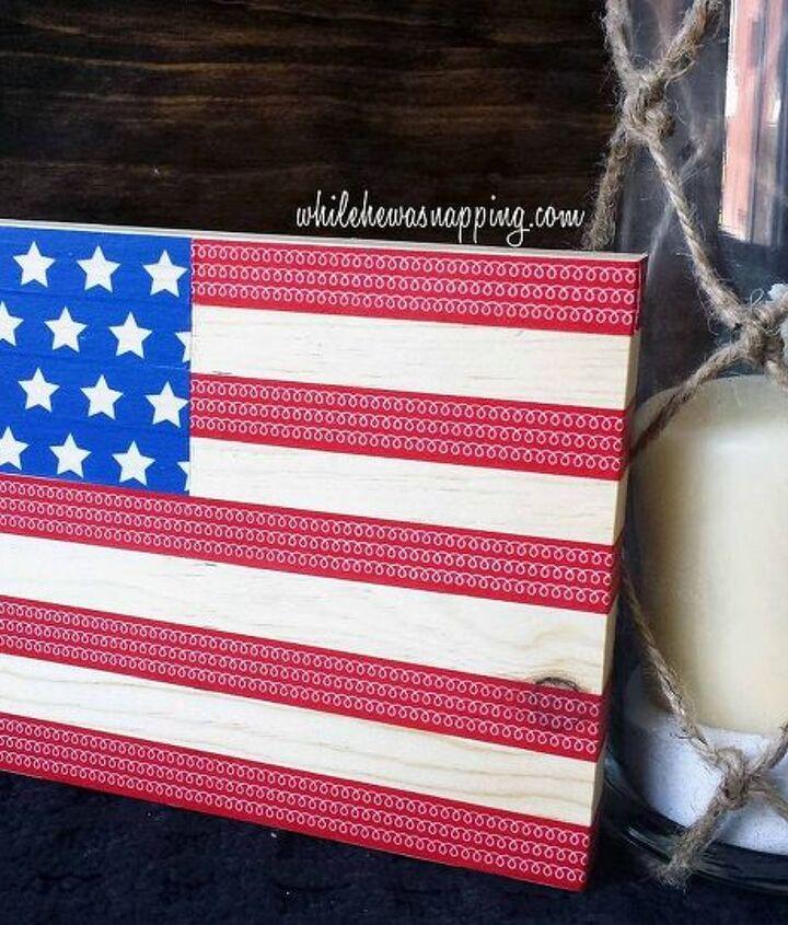 washi tape usa flag, crafts, patriotic decor ideas, seasonal holiday decor, wreaths