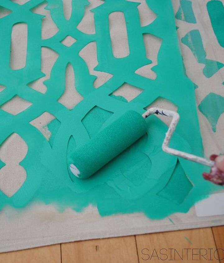 stenciled shower curtain using drop cloth, crafts, painting