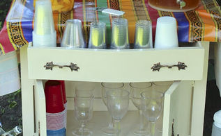 washstand turned beverage station, repurposing upcycling, We needed a place to house the beverages as a recent BBQ so I took this washstand and used it as a bar