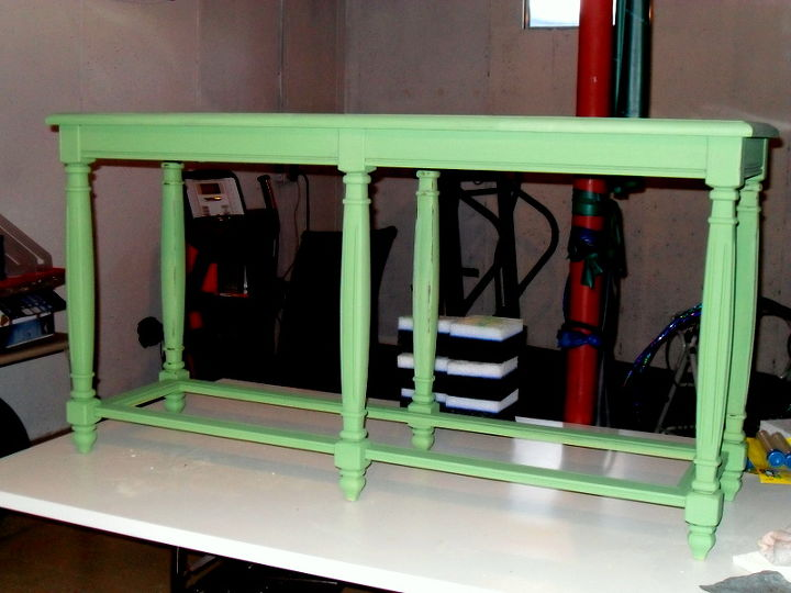 I painted it green with chalk paint and distressed it...