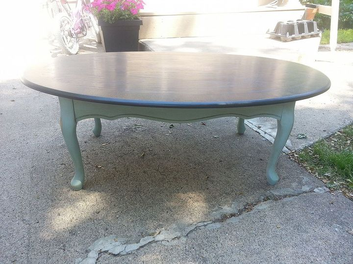2 toned coffee table and end table, painted furniture
