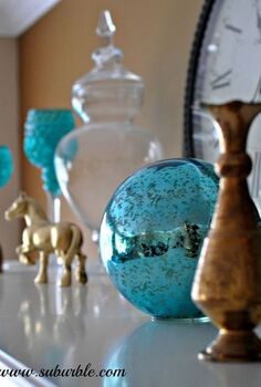 adding a pop of colour to the mantel, home decor, A peek a boo gazing ball with my golden horse tutorial for him on HT too