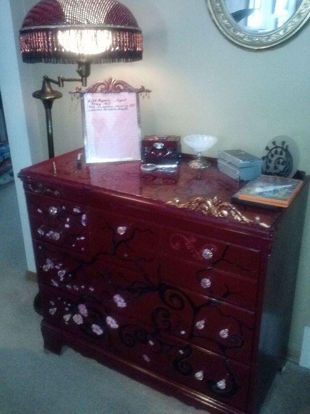Three Drawer Dresser w/ Free hand art work, and I put pink glass pulls on it.