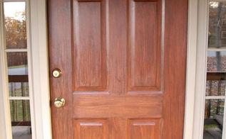 front door redo using faux wood grain technique, doors, painting, Here s a closeup of the final result