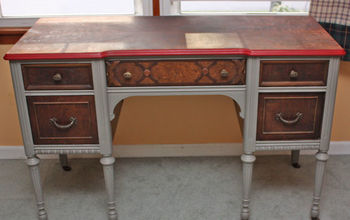 antique desk salvage and repurpose, painted furniture, I looked at keeping the drawers natural but it looked like a saddle shoe Not the look I m going for