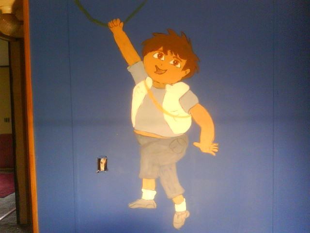 mural s i painted for the grand kids, bedroom ideas, painting, Mural for grandsons 3 and 4