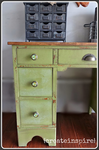 I wanted it to have loads of character and look like it had been around the block (in a good way, lol) a few times.  I chose to use milk paint because of the depth and variation in color. The color is perfect with the hardware!