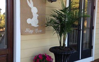 Making a Decorative Burlap Easter Flag.