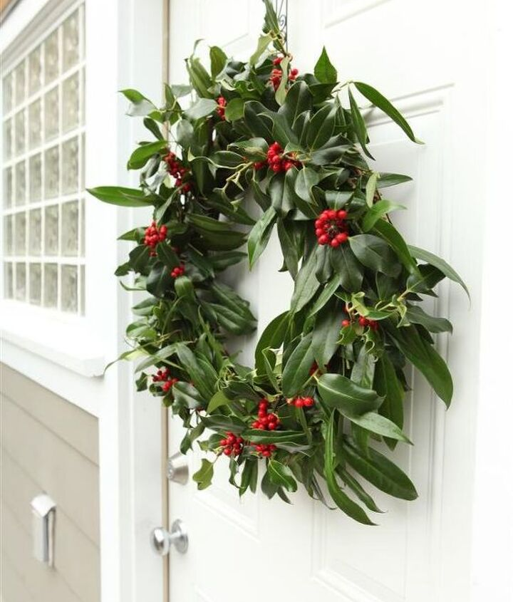 Such a pretty wreath!  Maintain its beauty by trimming off any browning or sagging leaves. You can remove the berries when they start to turn brown or just let them naturally shrink away.