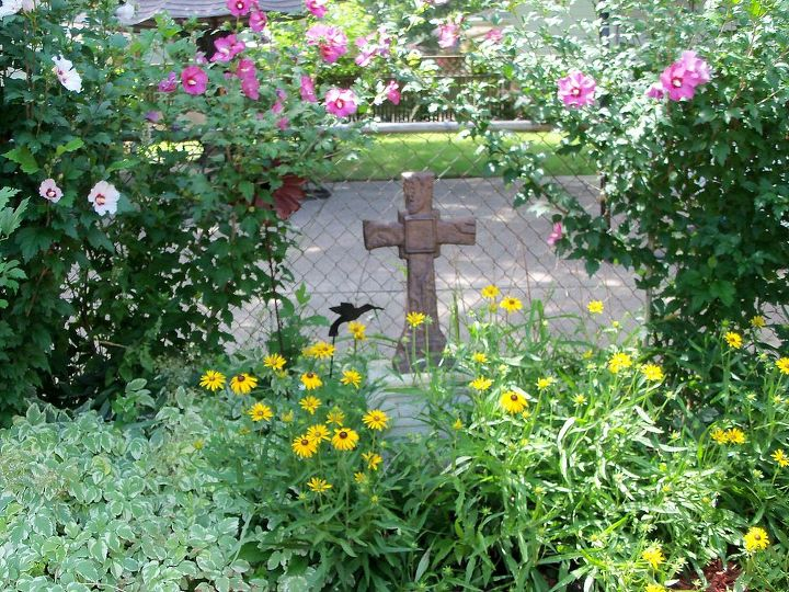 cross in the garden- so colorful right now