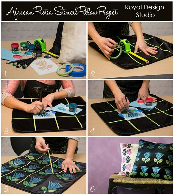 See the full how to here: http://www.royaldesignstudio.com/blogs/how-to-stencil/11890485-stencil-how-to-diy-stenciled-pillows-with-our-african-protea-stencil