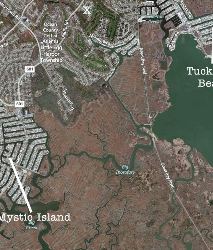 Mystic Island and Tuckerton Beach were wiped out. These are just two of the many New Jersey coastal communities devastated by Sandy. The X is near where I live, just a few minutes away.