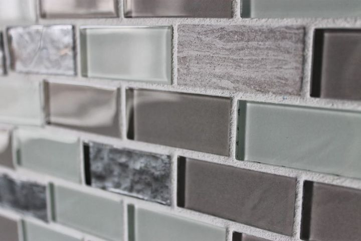 diy glass tile accent wall in master bathroom, bathroom ideas, home decor, tiling, A closeup of the glass tile itself I found the tile on clearance at Lowe s for 3 a sheet
