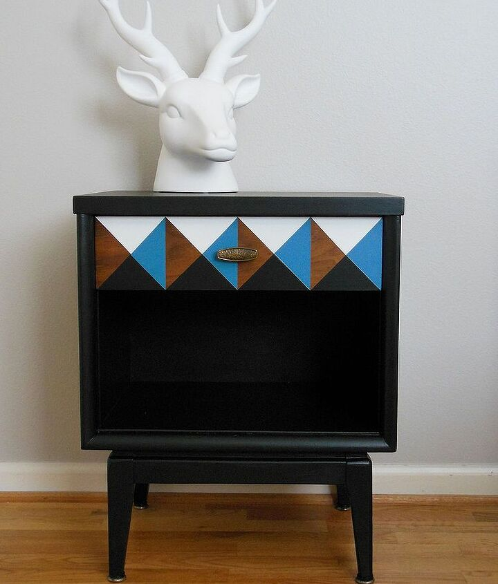 Finished nightstand with the geometric drawer.
