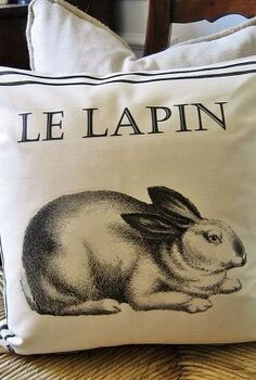my ballard inspired french bunny pillow including free graphic, crafts, seasonal holiday decor, Ballard inspired French bunny pillow uses an iron on transfer found on my blog