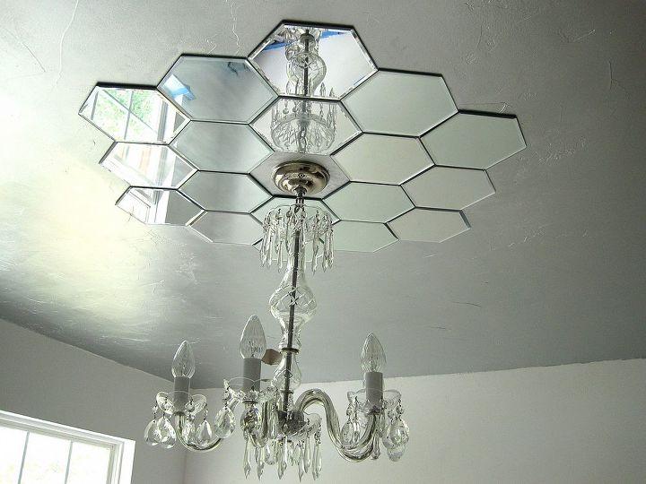diy mirrored ceiling medallion, bedroom ideas, home decor, lighting,  repurposing upcycling, - DIY Mirrored Ceiling Medallion Hometalk