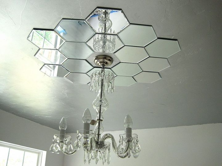 diy mirrored ceiling medallion, bedroom ideas, home decor, lighting, repurposing upcycling, wall decor, DIY mirrored ceiling medallion by Bella Tucker Decorative Finishes