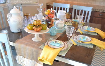 aqua and yellow fall tablescape, seasonal holiday decor