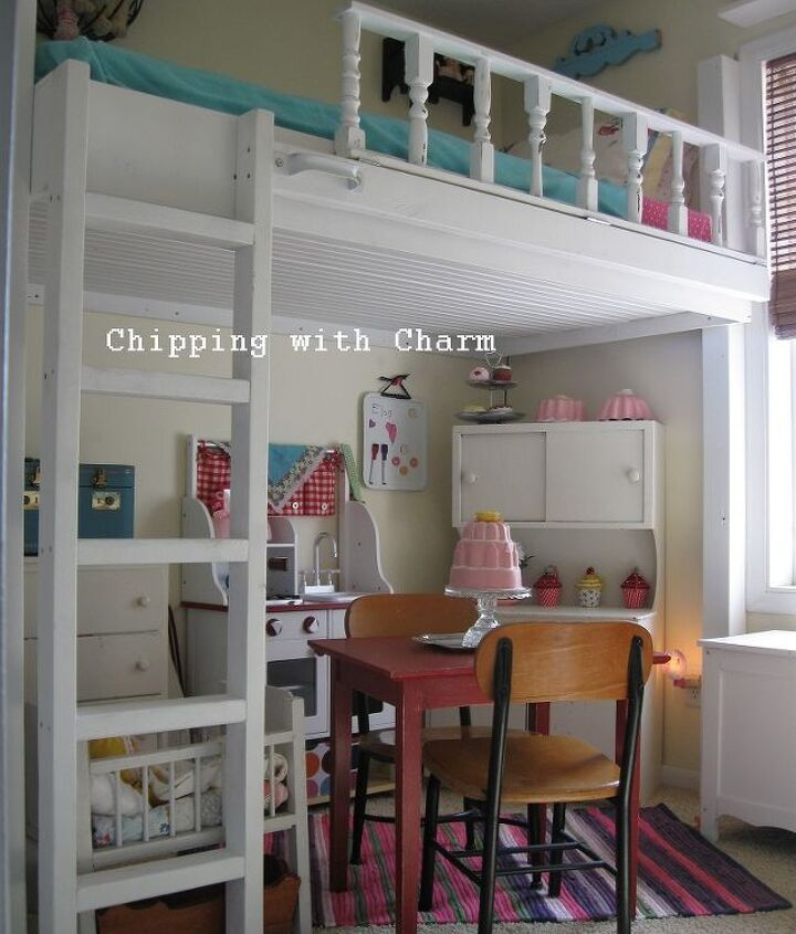lofted cottage bed for our little girl s dream room, bedroom ideas, diy, home decor, painted furniture, repurposing upcycling, We started by attaching a 4X4 post to the wall